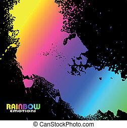 grungy, gocce acqua, con, arcobaleno, spettro, di, colori