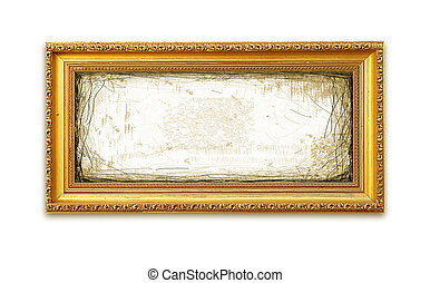 Grungy Golden Frame Over White Background (with clipping ...