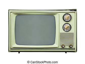 Grungy Green Vintage Television Isolated on White