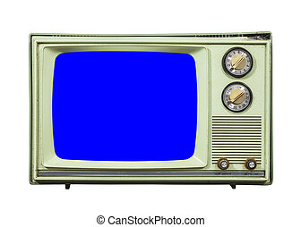 Grungy Green Vintage Television Isolated with Chroma Key Blue Screen