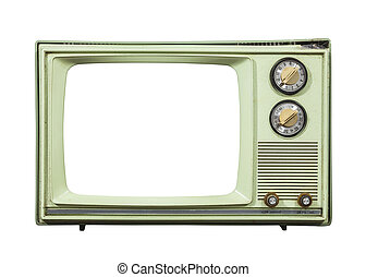 Grungy Green Vintage Television Isolated with Cut Out Screen