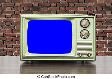 Grungy Green Vintage Television with Brick Wall and Chroma Key Blue Screen