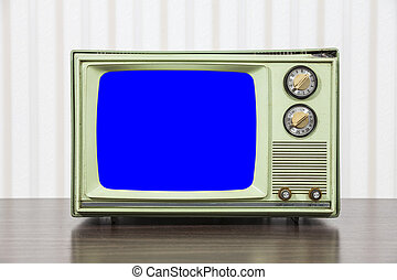 Grungy Green Vintage Television with Chroma Key Blue Screen
