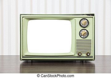 Grungy Green Vintage Television with Cut Out Screen
