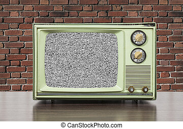 Grungy Green Vintage Television with Brick Wall and Static Scree