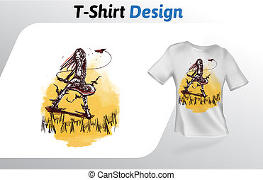 Grungy guitar player rocking out t-shirt print. Mock up t-shirt design template. Vector template, isolated on white background.