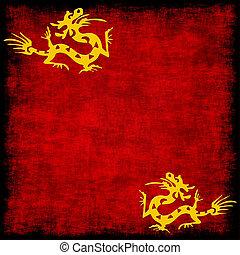 grungy, gyllene, röd, kinesisk drake