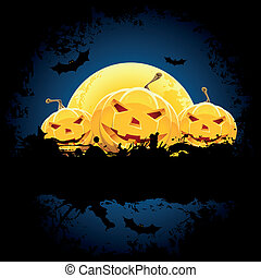 Grungy Halloween background with pumpkins bats and full moon...