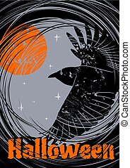 Grungy Halloween background with flying Raven. Vector Illustration.