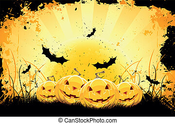 Grungy Halloween background with pumpkins and bats