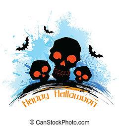 grungy, halloween, kranium, bakgrund