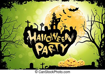 Grungy Halloween Party Poster with Pumpkins