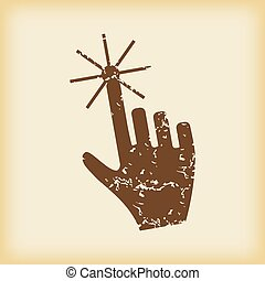 Grungy hand cursor icon - Grungy brown icon with image of ...