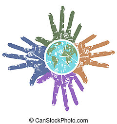 a grungy background of hands around the earth
