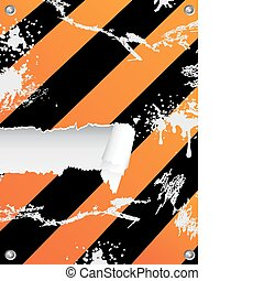 grungy hazard stripes background with ripped copy-space