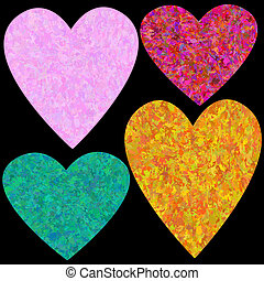 Grungy hearts set