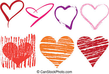 grungy hearts - set of doodle hearts with grungy texture,...