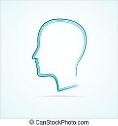 grungy, hoofd, vector, menselijk, pictogram
