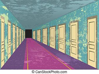 grungy, hotel, abandonado, corredor