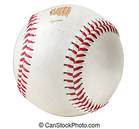 Isolated Grungy Scuffed Baseball On A White Background