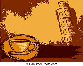 Grungy Italian coffee background
