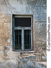 grungy, janela, resistido