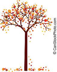 grungy, jesień, drzewo