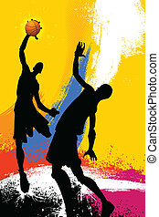 grungy, jeu, basket-ball