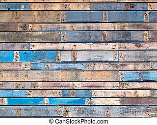 grungy, kék, festett, erdő, deszkák, közül, külső,...