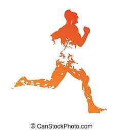 grungy, läufer, silhouette