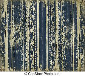 grungy, mörkblå, ved, scroll-work, stripes