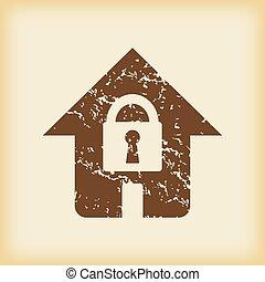 grungy, maison, verrouillé, icône
