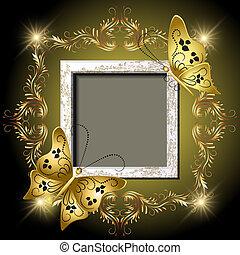 grungy, marco de la foto, mariposas, y, dorado, ornamento