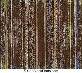 grungy, marrom, scroll, trabalho, madeira, listras