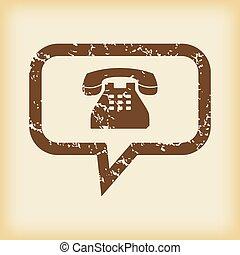 grungy, message téléphonique, icône