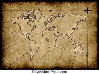 grungy, mondiale, vieux, carte