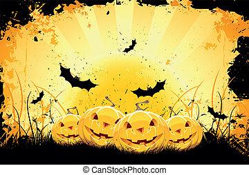 grungy, morcegos, abóboras, dia das bruxas, fundo