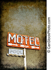 Grungy Motel Sign - An old vintage, neon sign with a grainy...