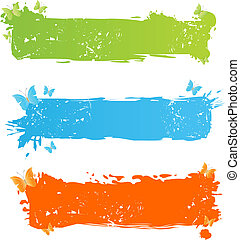 Grungy multicolored banners with butterfly