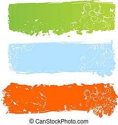 Grungy multicolored banners with fl