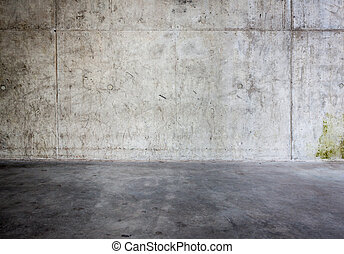 grungy, mur concret, plancher