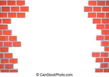 grungy, muro di mattoni, cornice