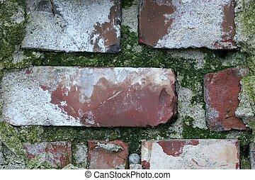 grungy, muur, baksteen