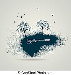 Grungy natural background. Silhouettes of trees and birds
