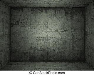 grungy, nezkušený, betonovat, místo