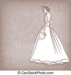 grungy, noiva, vestido, fundo, casório