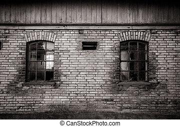 Grungy old barn windows