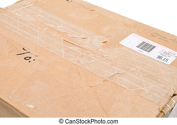 Grungy Old Cardboard Box To From Metered Isolated
