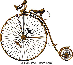 old fashioned bicycle - Grungy old fashioned bicycle with a ...