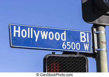 Grungy old Hollywood Bl Sign